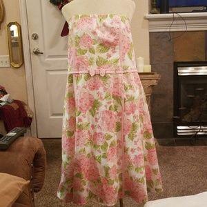 Pink Floral Strapless Dress 15 16